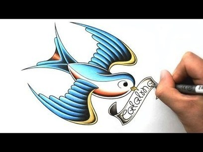 How to Draw a Traditional Swallow Tattoo | ultimatetattoocourse | Scoop.it