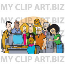 Group Of Office Employees Gathered Around A Computer For A Presentation Or To Watch Something Funny Clipart Illustration - Image 15643 by Andy Nortnik - My Clipart.biz | Labor and Employee Relations | Scoop.it