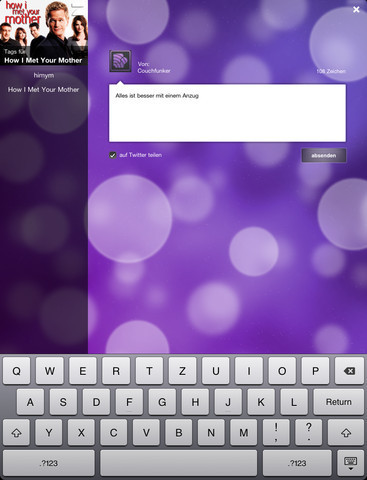Couchfunk - Social TV für iPad im iTunes App Store   iPad:  mobile Living, Learning, Lurking, Working, Writing, Reading ...   Scoop.it