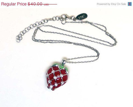 Sterling Silver Sugared Strawberry Pendant Necklace by Lenox - with Clear Rhinestones - Red and Green Enamel | serendipity treasures | Scoop.it