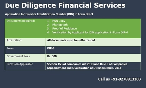 How to get DIN Number of Director for company registration in Delhi ncr | Due Diligence Financial Services | Company Registration in Delhi | Scoop.it