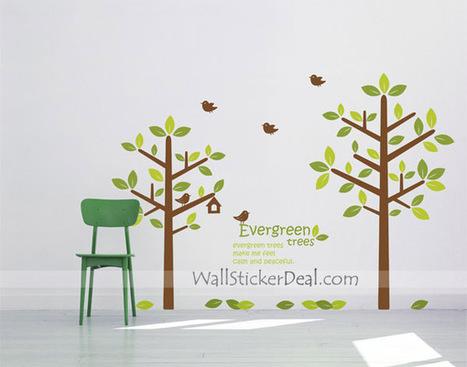 Evergreen Tree And Birds Wall Sticekrs – WallStickerDeal.com   Tree Wall Stickers   Scoop.it