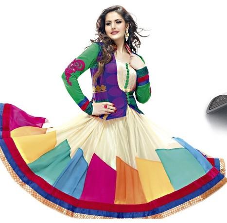 Zarine Khan Multicolored Anarkali Churidar Kameez   Bollywood Anarkali Dresses   Scoop.it
