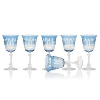 Sky Blue Wine Glasses, set of 6 - | Coloured Crystal | Scoop.it
