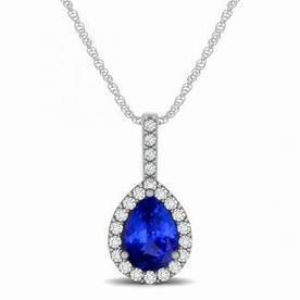 .55ct Pear Tanzanite Pendant With .176ctw Diamonds in 14k white gold   Tanzanite Pendants   Scoop.it