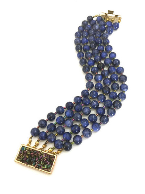 Five Strand Beaded Bracelet, Lapis Blue Glass Beads, Iridescent Bugle Beads, Fancy Clasp of Gold Tone Metal Bugle Beads | Vintage Jewelry and Other Vintage Treasures | Scoop.it