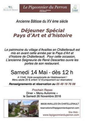 #Déjeuner Spécial Pays d'Art et d'histoire Au #PigeonnierduPerron à #Availles en #Châtellerault @OTChatellerault | Chatellerault, secouez-moi, secouez-moi! | Scoop.it