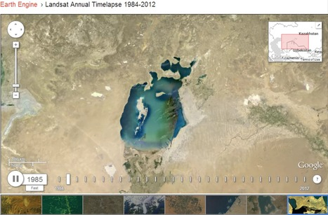 """Google Earth Engine: """"Interactive Landsat Timelapse of the Drying of the ARAL SEA, 1984-2012"""" 
