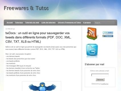 twDocs : un outil en ligne pour sauvegarder vos tweets en PDF, DOC, XML, CSV, TXT, XLS ou HTML - Websourcing.fr   Actualités du monde documentaire   Scoop.it