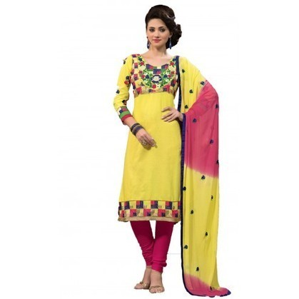 Stunning Yellow Cotton Indian Churidar Kameez - TheEthnicWear | Designer Salwar Kameez | Party Wear Salwar Kameez | Bollywood Churidar Salwar Kameez | Scoop.it