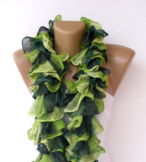 Knit Ruffled Scarf,green scarf,2013 NEW TREND SCARF,accessories,gifts for her,fashion,long scarf | Knit Ruffled Scarf,multicolor scarf,2013 NEW TREND SCARF,accessories,gifts for her,fashion,long scarf | Scoop.it