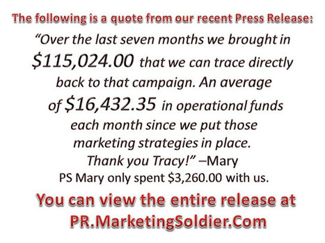 "Tracy G.J. Congdon ""The Marketing Soldier"": A quote from our recent press release... 