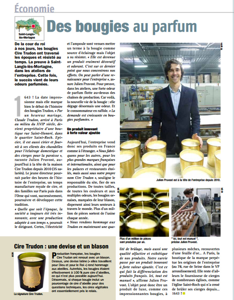 "Cire Trudon : ""Des bougies au parfum"" (61) - Orne Magazine n°90 