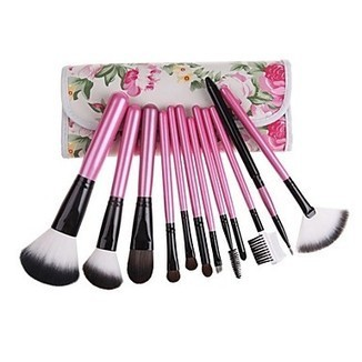 12PCS Pink Handle Cosmetic Brush Set With Free Floral Pink Pouch - makeupsuperdeal.com | Makeup Brushes | Scoop.it
