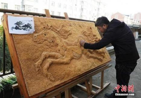 Chinese Man Quits Job to Work on Awe-Inspiring 500,000-Toothpick Painting | Strange days indeed... | Scoop.it