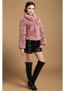 Women's Furs :: Fur Jackets :: Rabbit :: Rex Rabbit Fur Jacket with Stand Up Collar - | furs | Scoop.it
