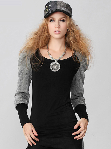 Stylish Solid Color Modal Pullover Round Neck Long Sleeve Splicing Contrast Color Slimming T-Shirt : KissChic.com | Kisschic Fashion Dresses | Scoop.it