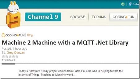 La mia libreria M2Mqtt su Channel9 ! - DevExperience | Internet Of Things | Scoop.it