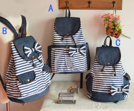 Fashion College Navy Bow Striped Backpacks just $28.90 only in ByGoods.com | Marcs College Backpack Ideas | Scoop.it