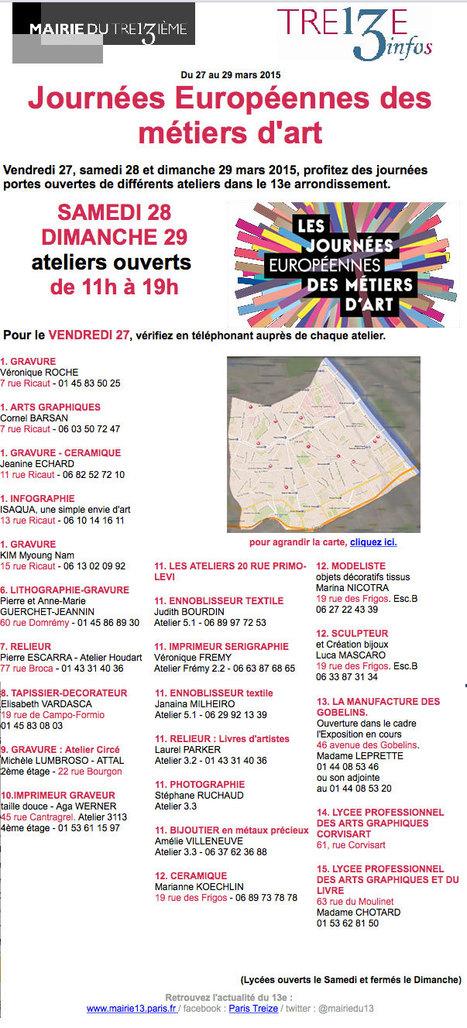 Mairie Paris 13ème: Journées Européennes des métiers d'art - du 27 au 29 mars 2015 | Machines Pensantes | Scoop.it