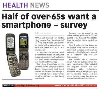 Doro Survey says 50% of over 65′s want a smartphone | wearable and moving marketing | Scoop.it