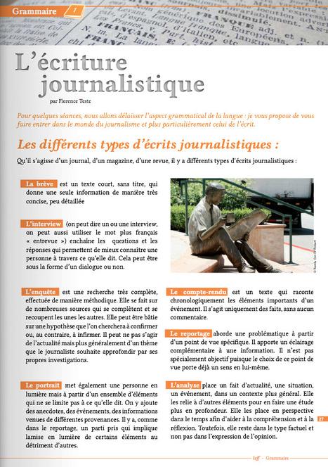 [ Rubrique Grammaire ] Apprenez les différents types d'écritures journalistiques grâce à votre magazine LCFF ! | lire n'est pas une fiction | Scoop.it