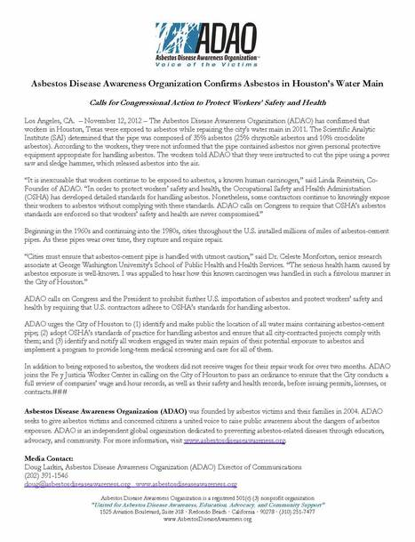 Asbestos Disease Awareness Organization  Press Release ADAO Confirms Asbestos in Water Mains in Houston, Texas | Asbestos and Mesothelioma World News | Scoop.it