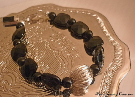 Sterling Silver 925 and Faceted Black Onyx Bracelet | Ann's Jewelry Collection | Scoop.it
