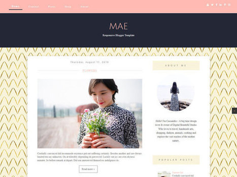 "Blogger Template Responsive Blog Design - ""MAE""   Blogger Theme - Golden -  Feminine - Minimalistic - Sidebar Layout - Instant Download 