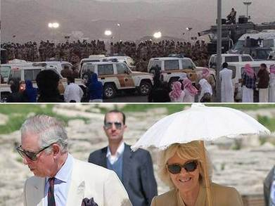 "As the smoke clears after Saudi Arabia's latest mass execution by firing squad... Charles and Camilla fly in | ""Asian Spring"" 