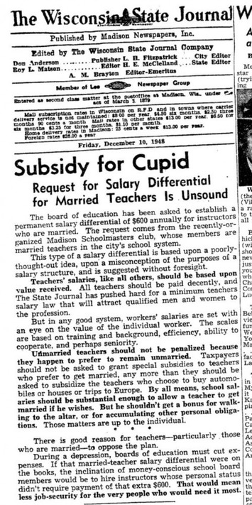 No Subsidy For Cupid, Stupid (Lessons In Pay Equity & The Value Of Teachers, From 1948) | Herstory | Scoop.it