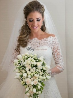 Cheap Organza Applique A-Line Long Sleeves Wedding Dresses Sale at Amydress.co.uk | amydress | Scoop.it