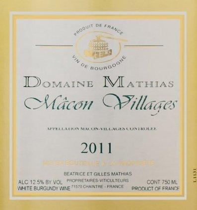 2011 Domaine Mathias Macon Villages 750 mL   Review Best Wines Online   Scoop.it