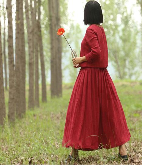 Long-sleeved dress temperament burgundy linen Jixin Ling Linen Long DressWomen Maxi dress  : Robe par ebuicakebs | Ladies Fashion | Scoop.it