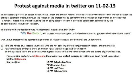 Baloch Protest against media in twitter on 11-02-2013 | Human Rights and the Will to be free | Scoop.it