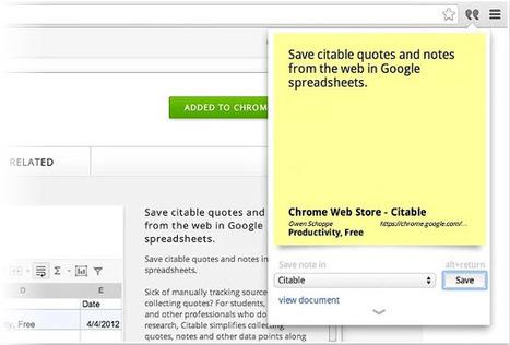 Citable, para guardar enlaces y notas en las Hojas de cálculo de Google desde Chrome   Educacion, ecologia y TIC   Scoop.it