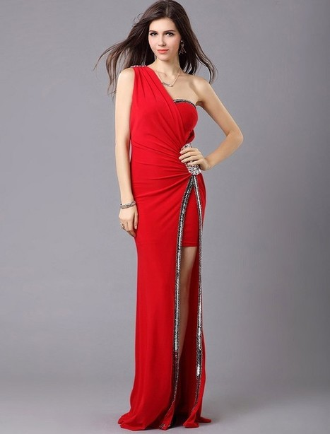 Sheath Column One Shoulder Floor Length Red Evening Dress Olc0073 | Fashion Dresses Online | Scoop.it
