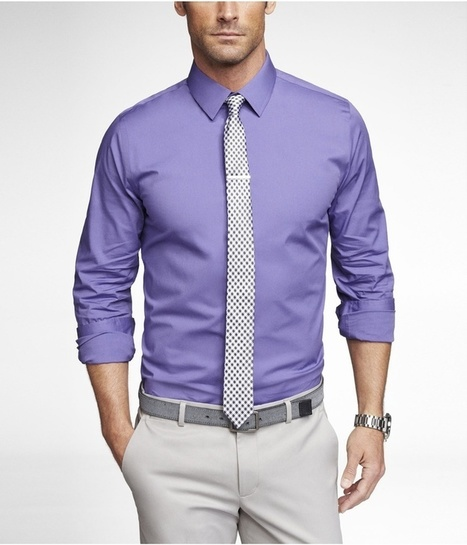 Purple Dress Shirt Black And White Tie Light Grey Pant Gray Belt | Male Fashion Advice | Scoop.it