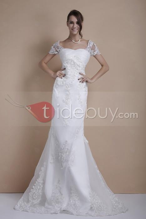 Glamorous Trumpet/Mermaid Short Sleeves Court Train Sandra's Wedding Dress | sweet heart | Scoop.it