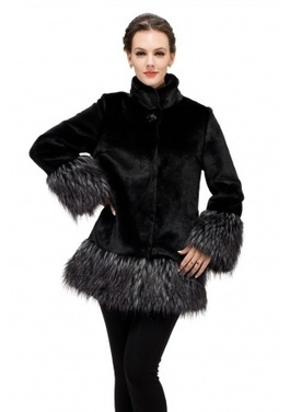 Faux black mink cashmere with dark gray fox fur cuff and hem middle fur coat | Fashion Faux Fur | Scoop.it