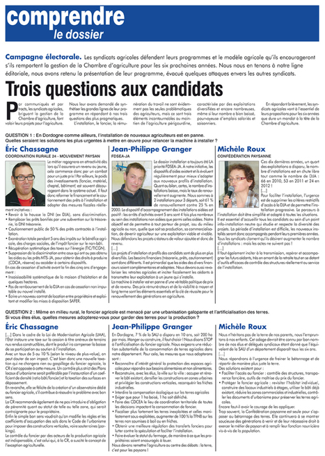 Chambre d'agriculture : aux agriculteurs appelés aux urnes de faire leur choix | Agriculture en Dordogne | Scoop.it