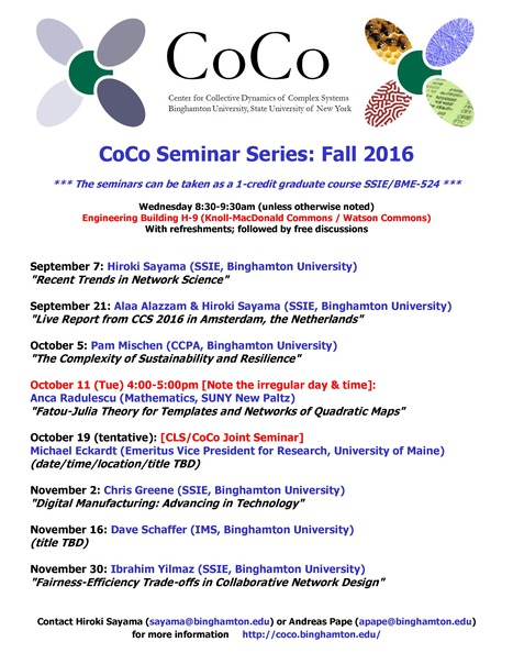 Fall 2016 CoCo Seminar Series Schedule | Center for Collective Dynamics of Complex Systems (CoCo) | Scoop.it