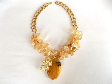 Yellow Citrine Necklace, Jewelry, Autumn, Leaf Necklace, Natural Gemstone, Women Fashion, Gold Beads,  Faceted Citrine, Gold Plated Chain | My Jewelrys | Scoop.it