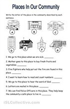 Places In The Community worksheet - Free ESL printable worksheets made by teachers | In the community | Scoop.it