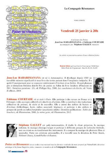 Poètes en Résonances - Vendredi 25 Janvier 2013, Fabienne Courtade, Jean-Luc Raharimanana, Stéphane Gallet   Poezibao   Scoop.it