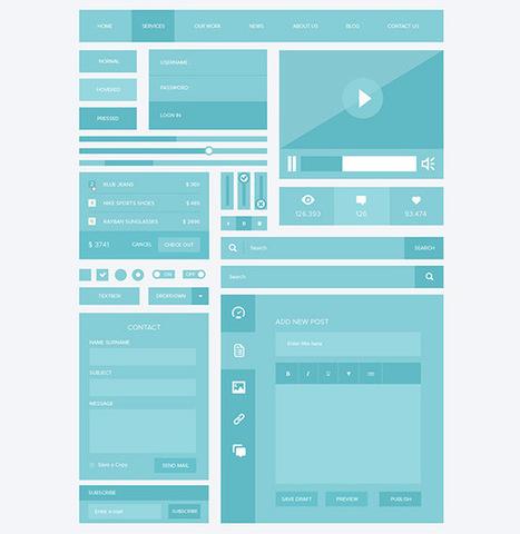 30 Free Flat UI Kits for Web Designers | Splashnology.com | Tools | Scoop.it