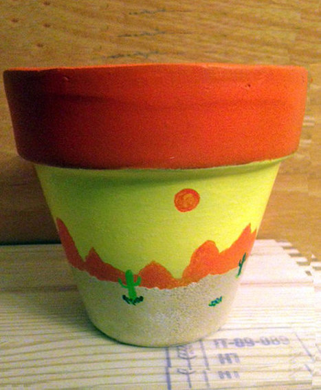 Southwestern Desert Scene Sun Mountains Cactus desert Sand Flower Pot Hand Painted on 4.5 Inch Terra Cotta Red Clay Pot Made to Order | Antiques n' Oldies | Scoop.it