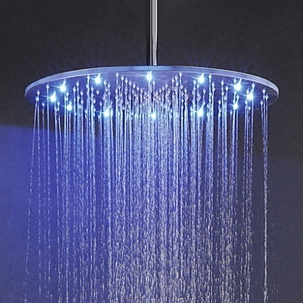 3 Colors(Blue, Green, Red) Temperature Sensitive LED 20 Inch Top Shower Rainfall Bathroom Shower Head-- Faucetsmall.com | Shower Faucets & Bathtub Faucets | Scoop.it