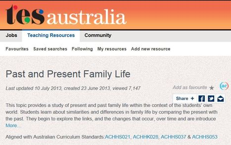 Year 1: Present and Past Family Life - TES Australia   Primary History - Australian Curriculum Topics   Scoop.it