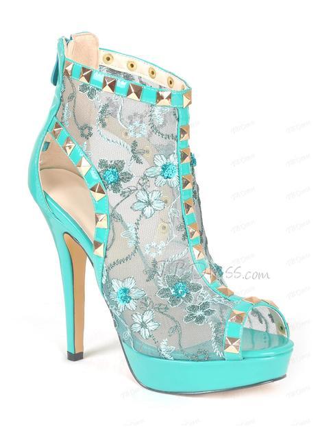 Large Size Turquoise Peep Toe Rivet Stiletto Heel Pumps | beauty girl | Scoop.it